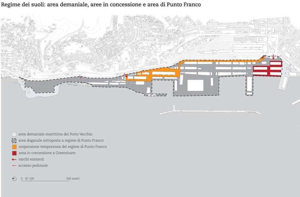 Regime dei suoli: area demaniale, aree in concessione demaniale e area Punto Franco
